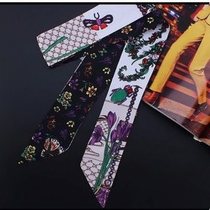 Silk Handbag Twilly Bee Print Scarf